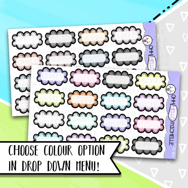 Doodled Bubbles FC-063 & 064 | 16 Hand Drawn Planner Stickers