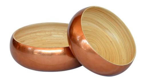 Bamboo Round Low Bowl (Colour Copper) Bowl