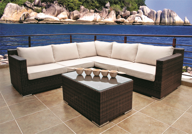 Barcelona 6 Piece Corner Outdoor Sectional Set With Cushions (Color Wood Series) Lounge