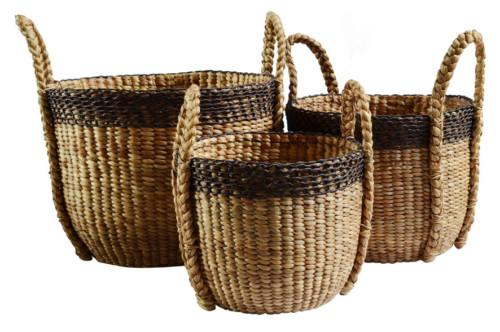 Basket 2 Tone Brown Set Of 3 Bowl