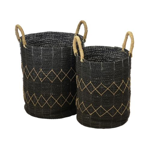 Basket Diamond Set Of 2 (Colour Black) Bowl