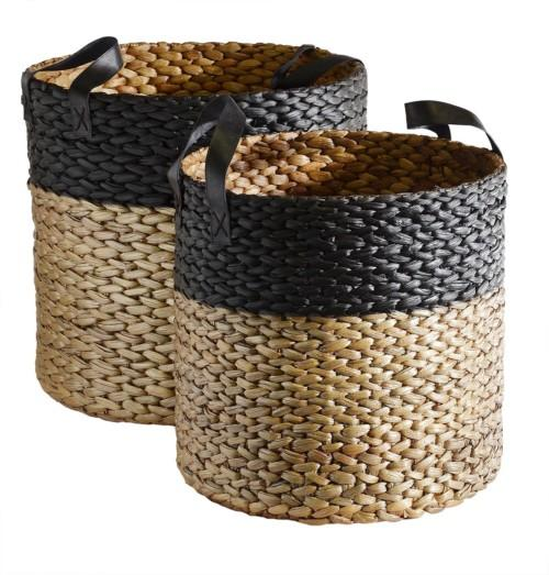 Basket Hyacinth Round Set Of 2 (Colour Gold & Black) Vase