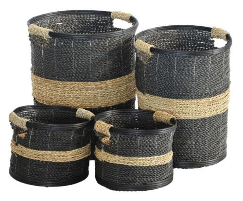 Basket Seagrass Cutout Set Of 4 (Colour Black & Natural) Bowl