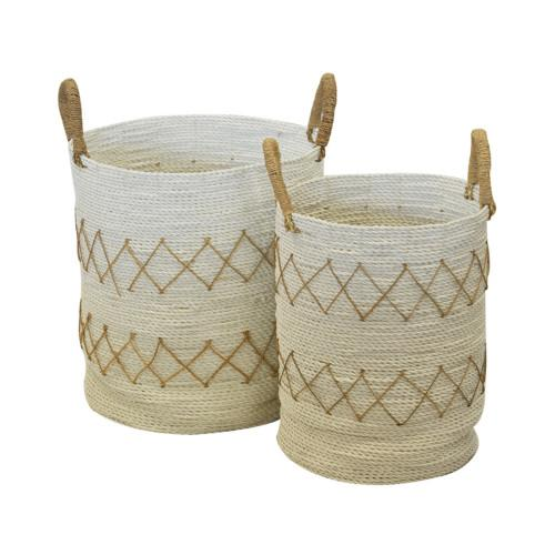 Basket Diamond Set Of 2 (Colour White) Bowl