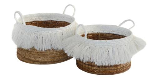 Basket Mendong Tassel Set Of 2 (Colour Natural & White) Bowl