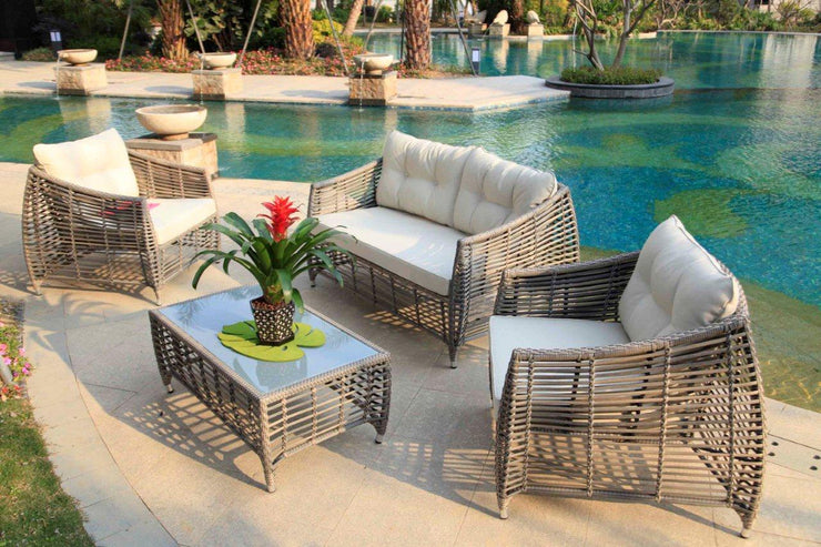 Ceres 4 Piece Outdoor Lounge Set With Cushions (Colour Stone)