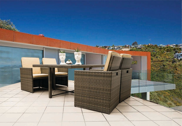 Cube 5 Piece Outdoor Dining Set with cushions (Colour Wood Series)