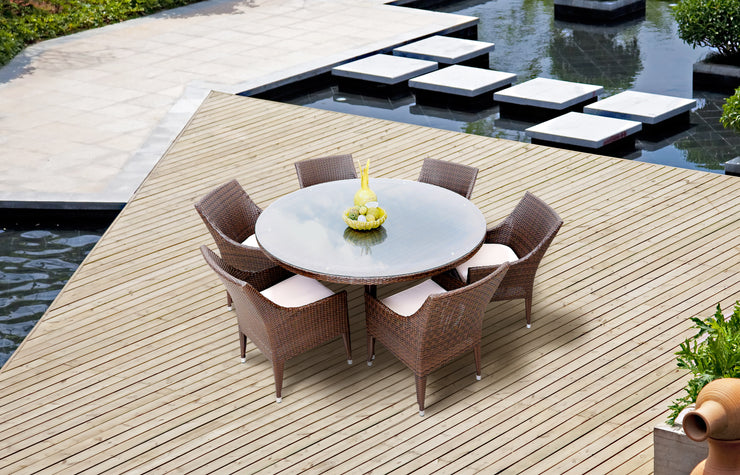 Exotic 7 Piece Round Outdoor Dining Set with cushions (Colour Wood Series)