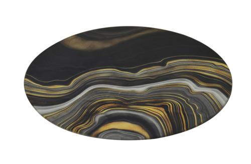 Glass Placement Mat Round Agate Wave Set Of 2 (Colour Black & Gold) Bowl