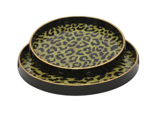 Glass Serving Tray Round Set Of 2 (Colour Neon Leopard Skin) Bowl