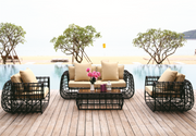 Hockenheim 4 Piece Outdoor Lounge Set (Color Wood Series)