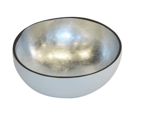 Mop Coconut Bowl Silver Leaf (Colour White & Silver) Bowl
