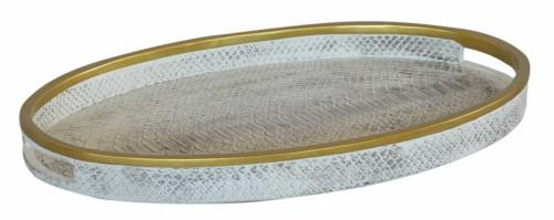 Oval Serving Tray (Colour White Snake Skin) Bowl