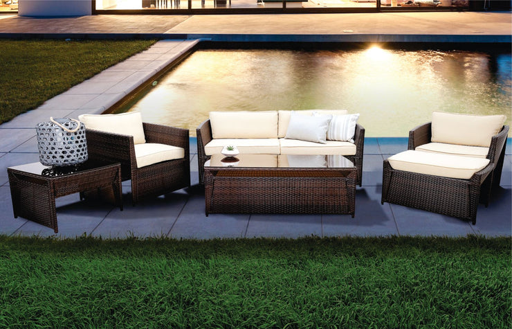 Palo Alto 4 Piece Outdoor Lounge Set with Cushions (Colour Wood Series)