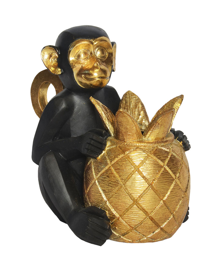 Resin Monkey with Pineapple (Colour Black and Gold)