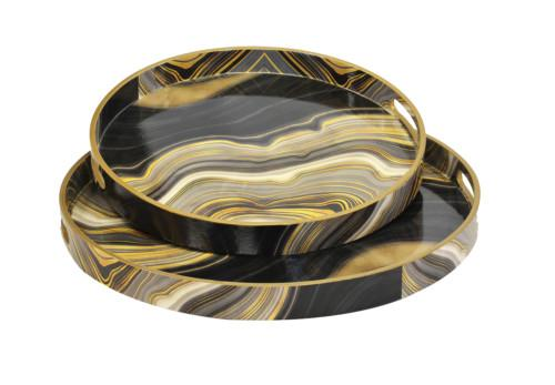 Resin Serving Tray Round Agate Wave Set Of 2 (Colour Black & Gold) Bowl