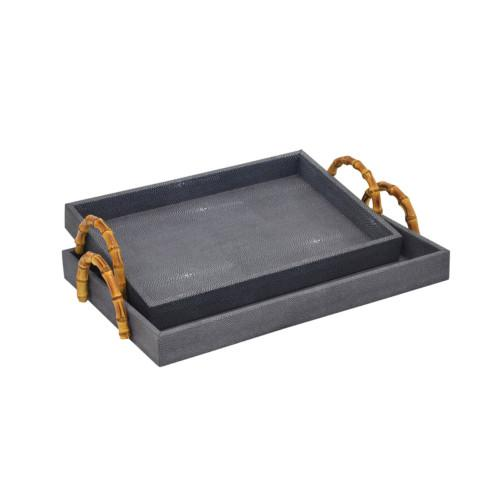 Shagreen Serving Tray With Bamboo Handle Set Of 2 (Colour Blue) Bowl