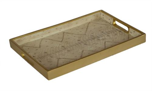 Shagreen Serving Tray Rectangle ( Colour Cream Snake Skin & Gold) Bowl
