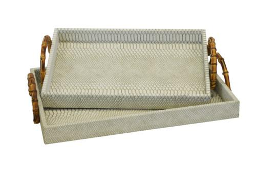 Shagreen Serving Tray Rectangular With Bamboo Handle Set Of 2 (Colour Cream Snake Skin) Bowl