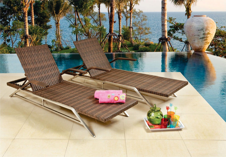 Sunray Outdoor Sun Lounger without cushion (Colour Wood Series)