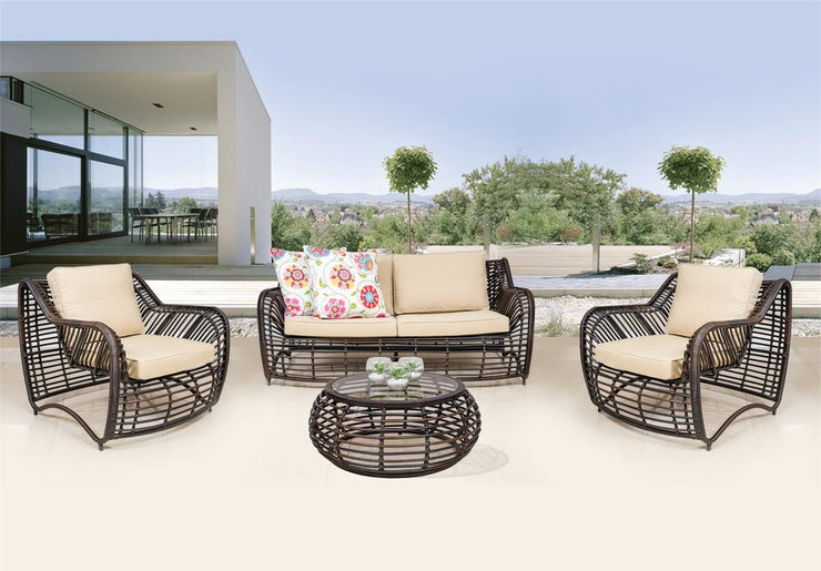 Valencia 4 Piece Outdoor Lounge Set with Cushions (Colour Wood Series)