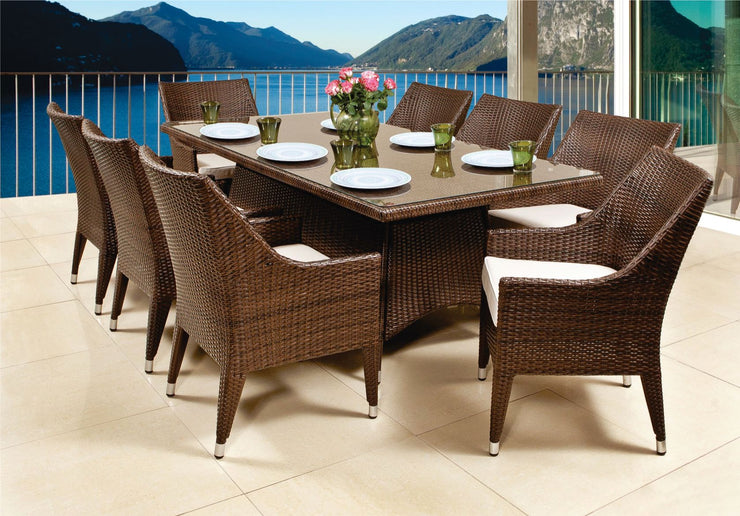 Viola 9 Piece Outdoor Dining Set with cushions (Colour Wood Series)