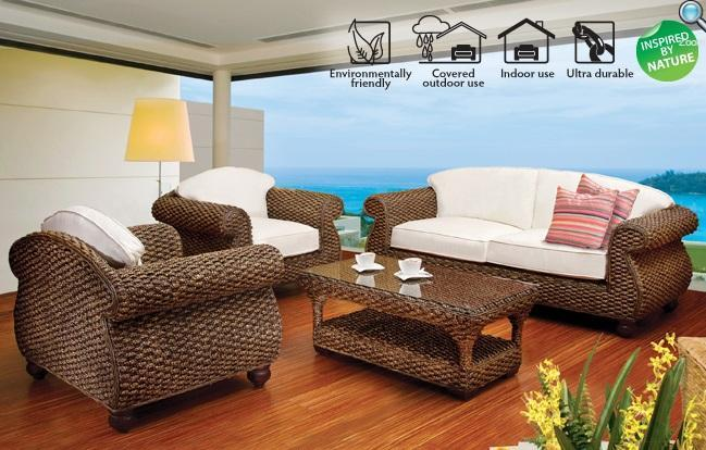 Bali 4 Piece Outdoor Lounge Set With Cushions (Color Antique)