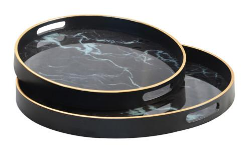 Glass Marble Tray Set Of 2 (Colour Black) Bowl