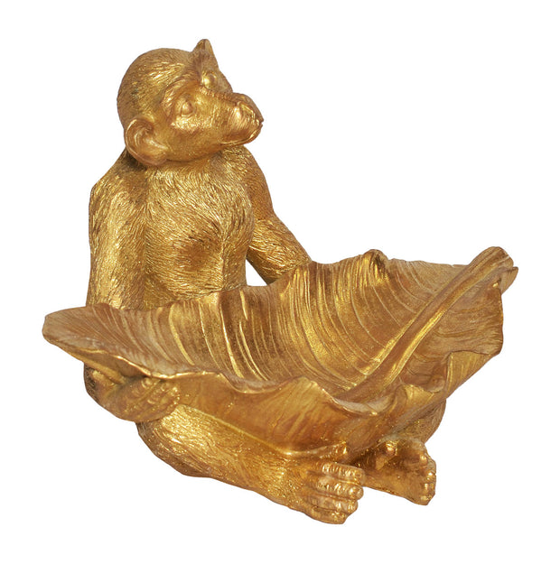 Resin Monkey with Leaf (Colour Gold)