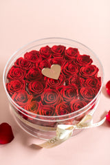 Limited Edition 25 Rose Everlasting Box with heart label