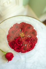 NEW! Everlasting 15 Rose Round box with drawer (choose color)