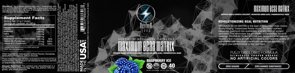 Maximum BCAA Matrix Raspberry Ice