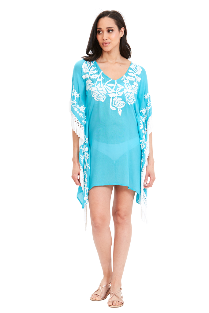 Island Flora Embroidered Poncho