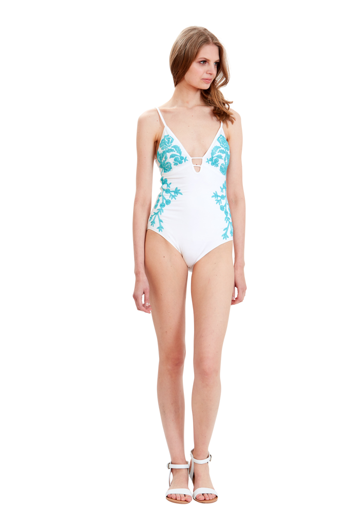 Island Flora Embroidered One-Piece
