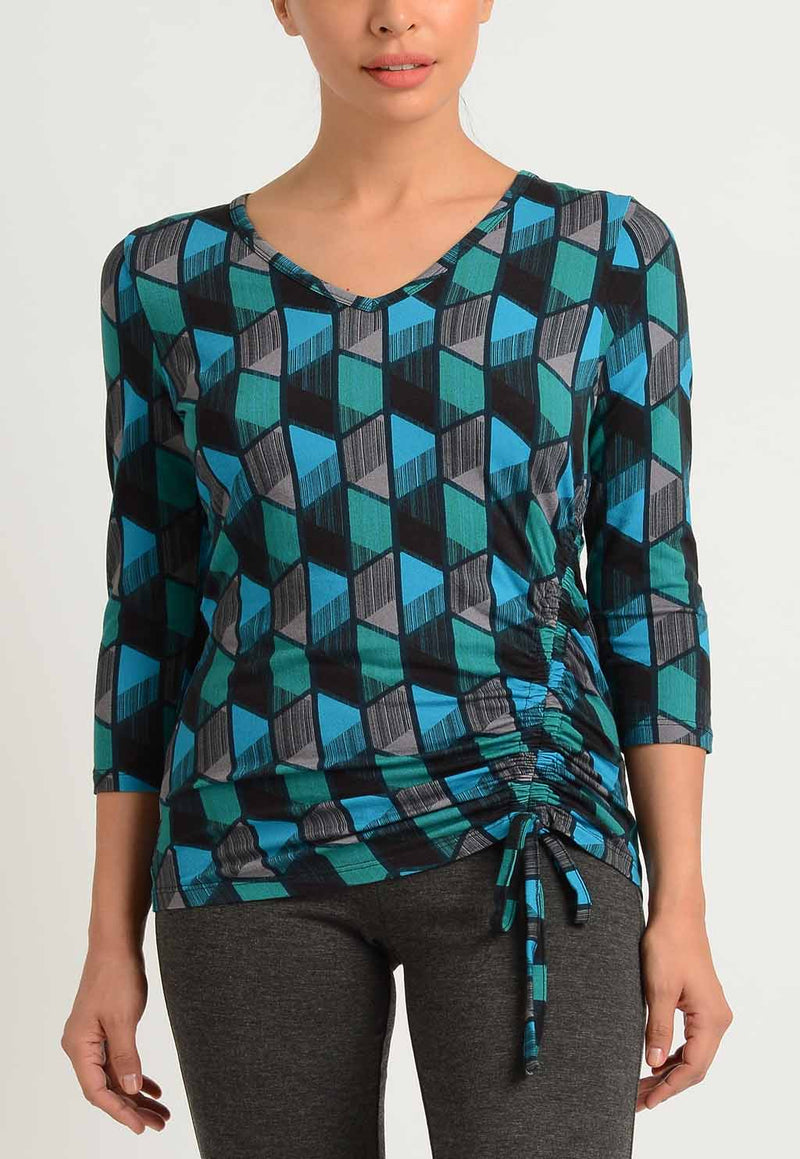 Geo Dome Shirred V-Neck Top