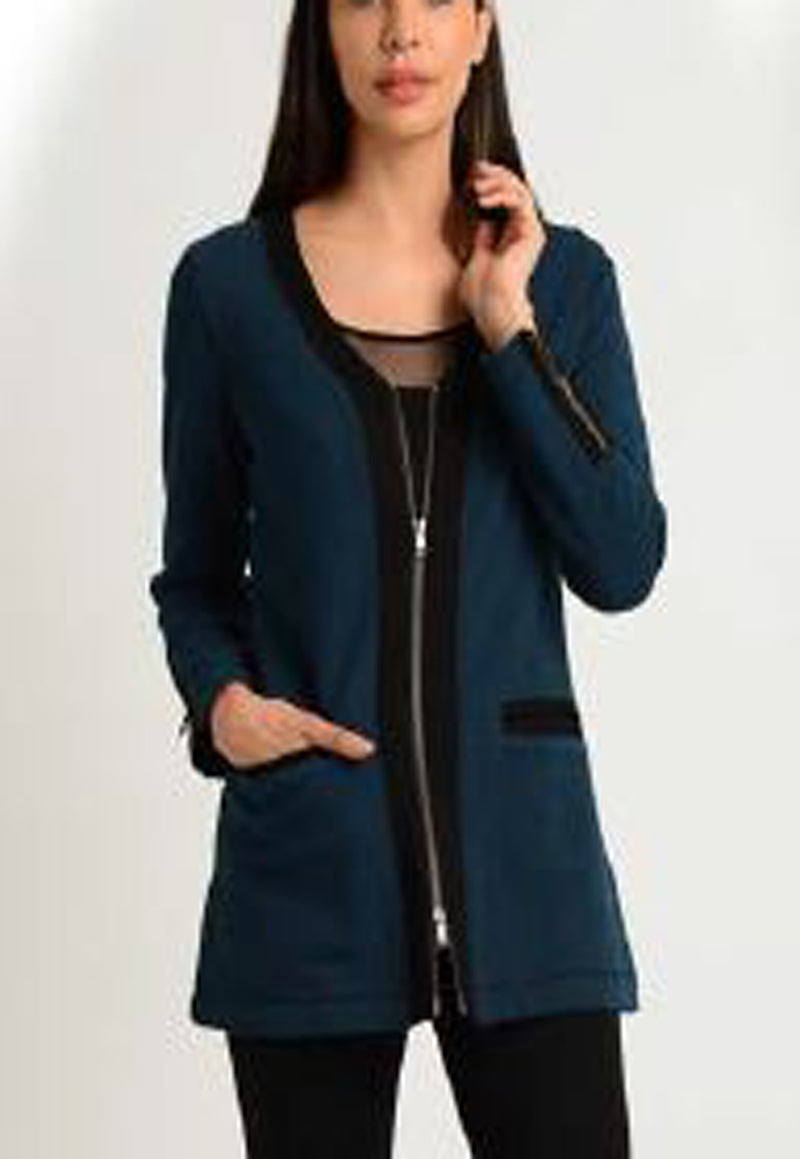 Long Sleeve V-Neck Neck Zip Front Jacket