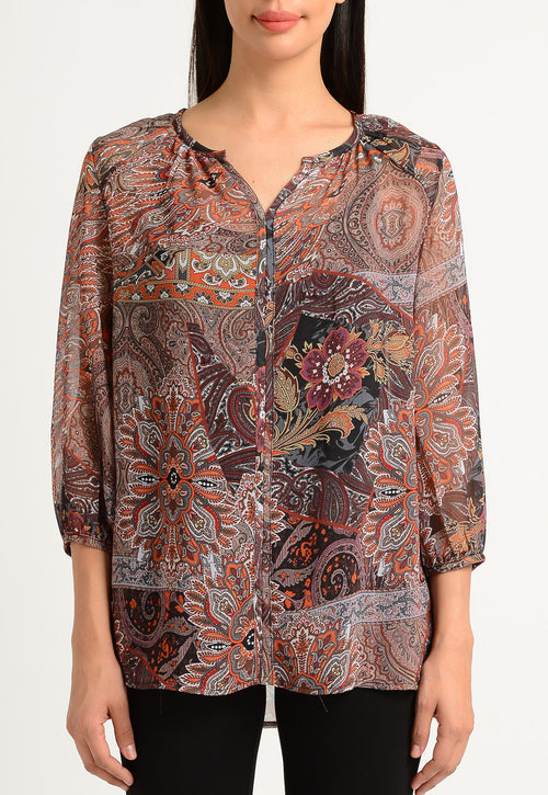 Palermo Paisley Split Neck Blouse