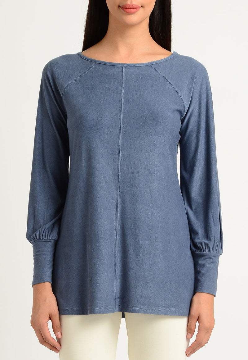 Faux Suede Scoop Blouse Sleeve Boat Neck