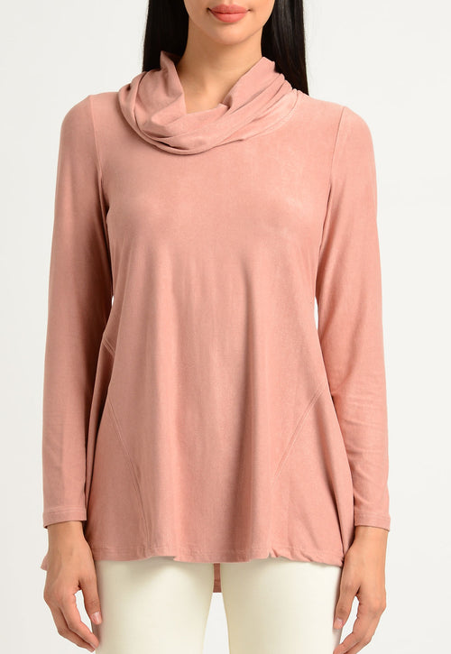 Faux Suede Flare Hem Cowl Neck Top