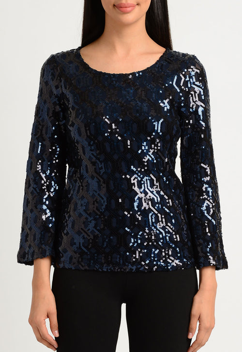 Geometric Sequin Bell Sleeve Scoop Neck