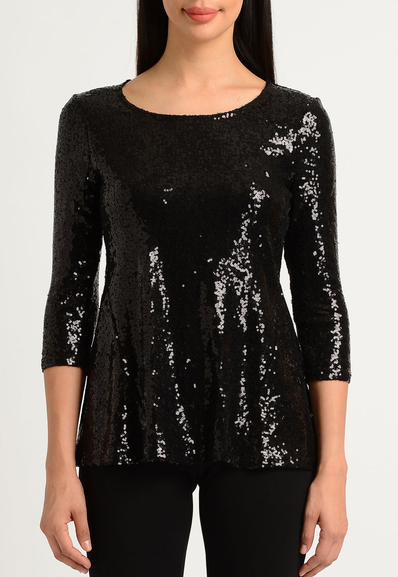 Black Sequin Flare Top