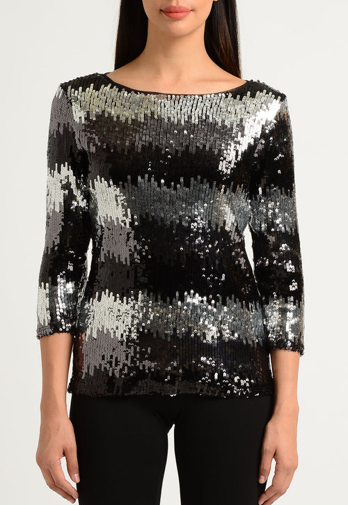 Zig Zag Stripe Sequined Boat Neck