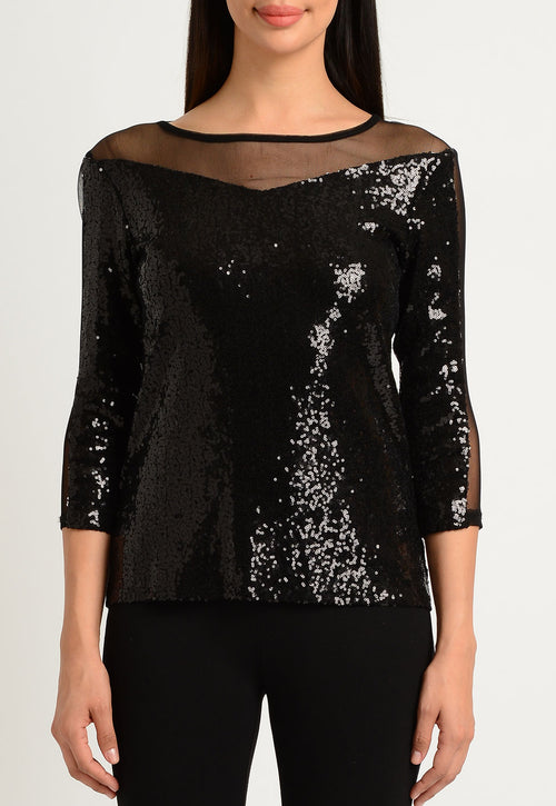 Sequin and Sheer Mix Top