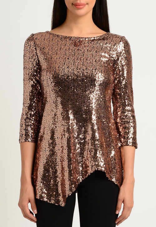 Rose Gold Sequin Asymmetric Hem Top