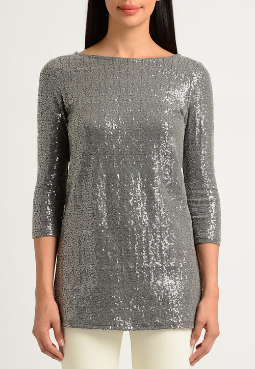 Heather Gray Sequined Tunic