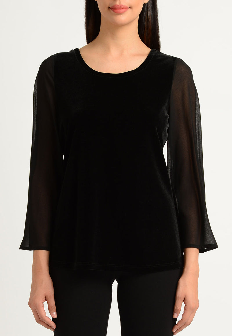 Velvet and Chiffon Twist Back Top