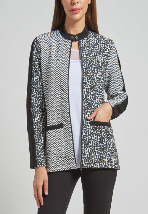 Zip Front Moto Jacket with piecing