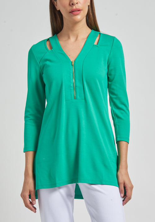 3/4 Sleeve 1/2 Zip Tunic with Cut-outs