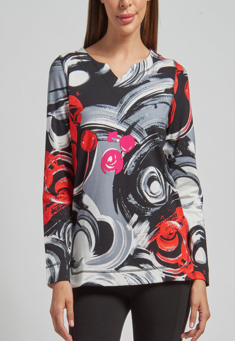 Long Sleeve Notched Neck Sweatshirt