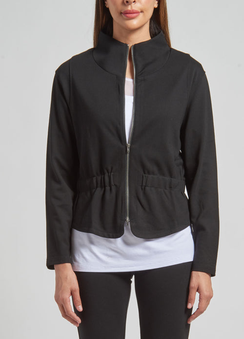 Funnel Neck Cinch Waist Jacket